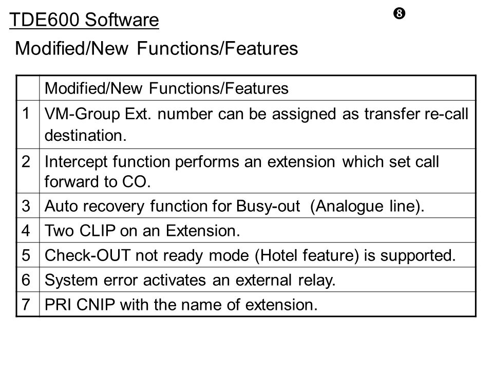 """ TDE600 Software Modified/New Functions/Features 1 VM-Group Ext. number can be assigned as transfer re-call destination. 2Intercept function performs"