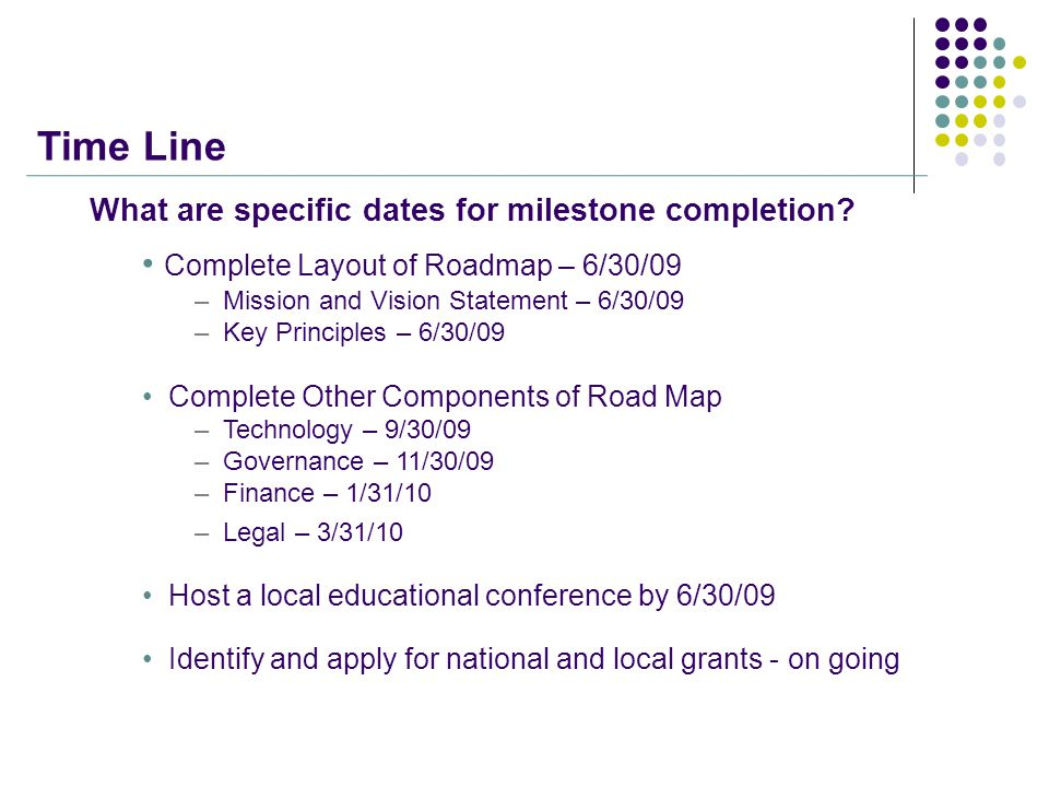 Time Line What are specific dates for milestone completion.