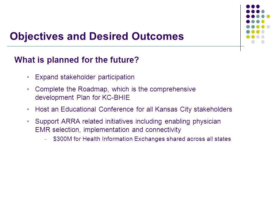 Objectives and Desired Outcomes What is planned for the future.