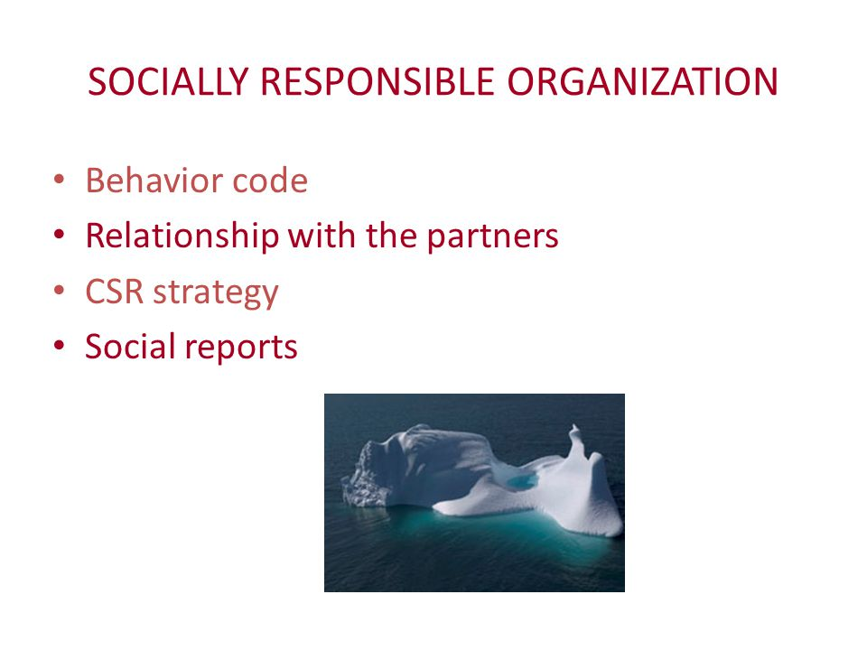 SOCIALLY RESPONSIBLE ORGANIZATION Behavior code Relationship with the partners CSR strategy Social reports