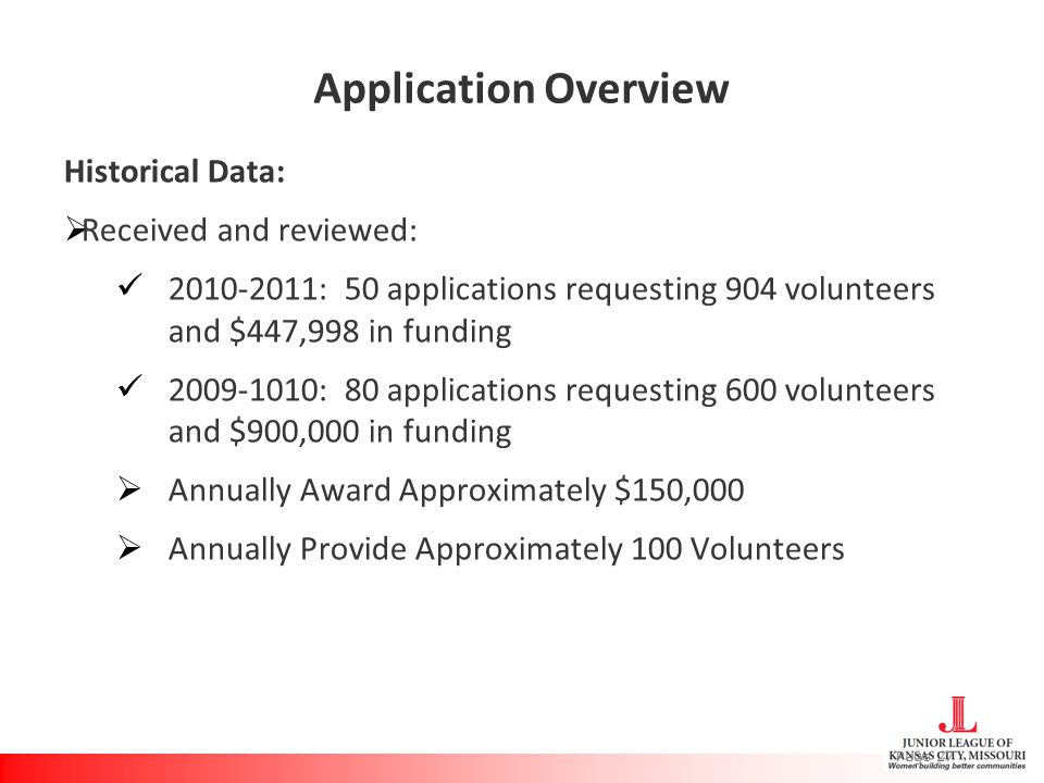Application Overview Historical Data:  Received and reviewed: 2010-2011: 50 applications requesting 904 volunteers and $447,998 in funding 2009-1010: 80 applications requesting 600 volunteers and $900,000 in funding  Annually Award Approximately $150,000  Annually Provide Approximately 100 Volunteers Page 27