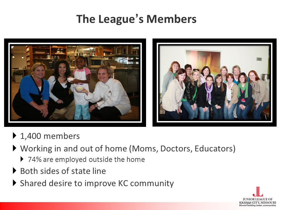 The League's Members  1,400 members  Working in and out of home (Moms, Doctors, Educators)  74% are employed outside the home  Both sides of state line  Shared desire to improve KC community Page 7