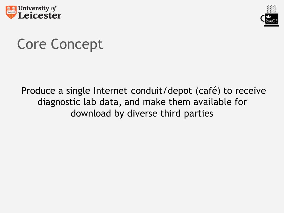 Core Concept Produce a single Internet conduit/depot (café) to receive diagnostic lab data, and make them available for download by diverse third part