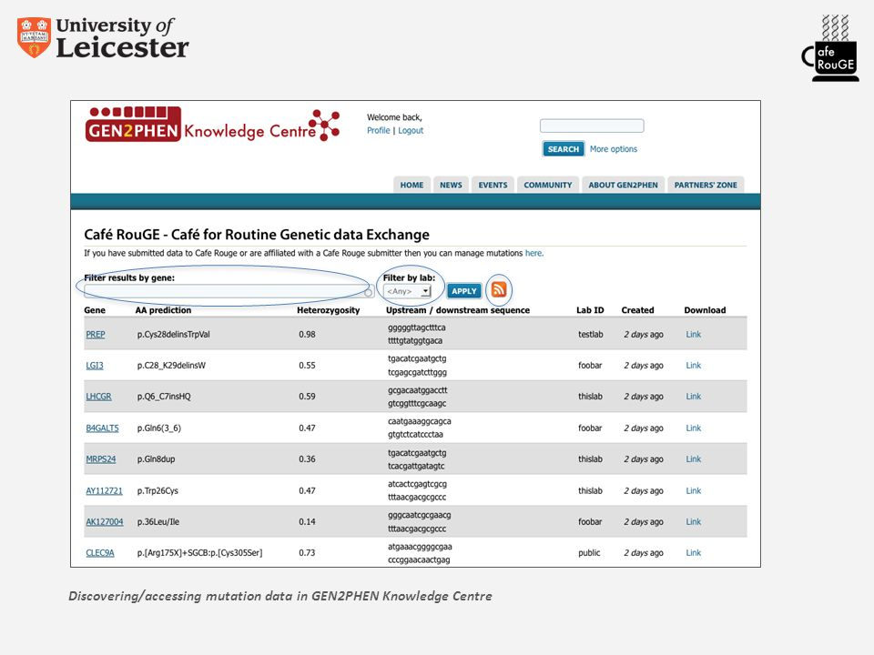 Discovering/accessing mutation data in GEN2PHEN Knowledge Centre