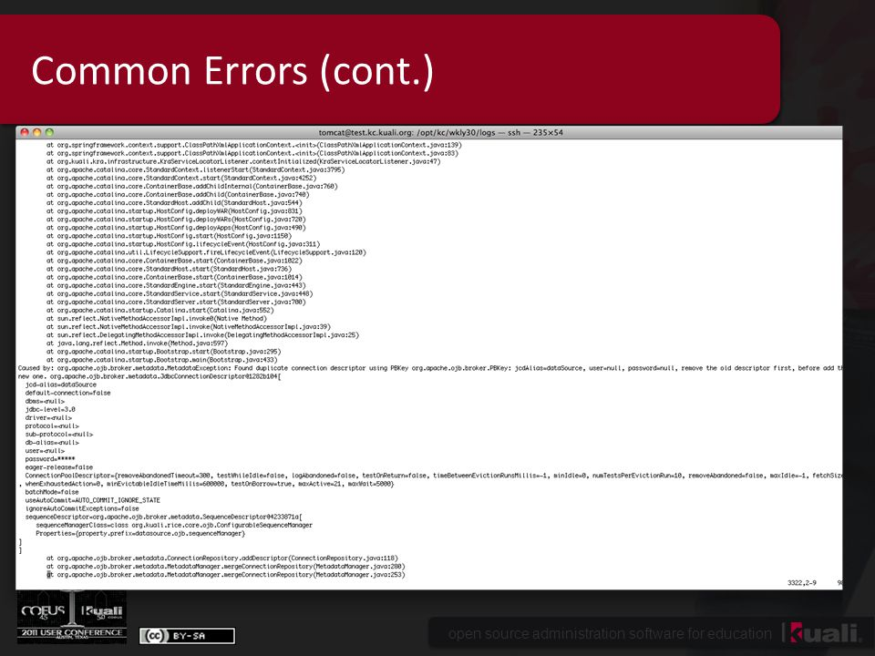 open source administration software for education Common Errors (cont.)