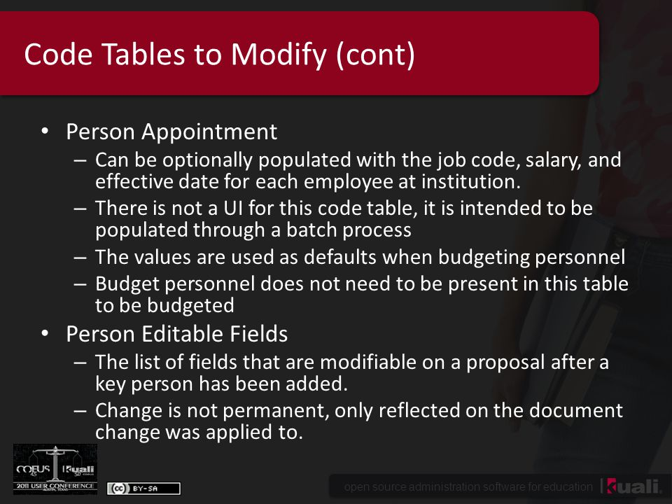 open source administration software for education Code Tables to Modify (cont) Person Appointment – Can be optionally populated with the job code, salary, and effective date for each employee at institution.