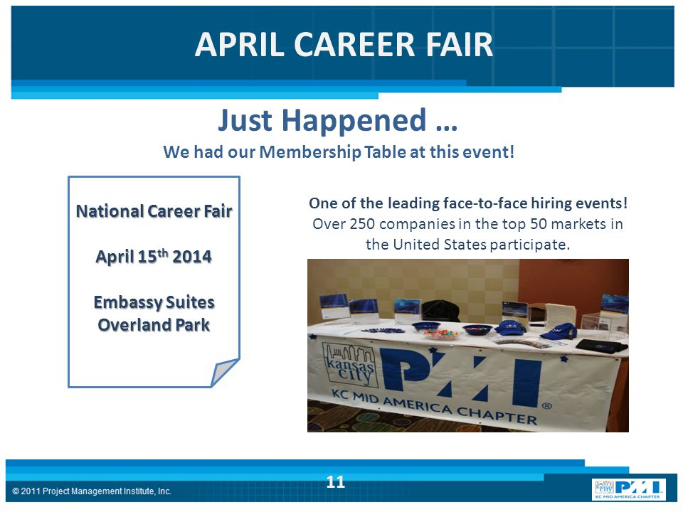 APRIL CAREER FAIR Just Happened … We had our Membership Table at this event.