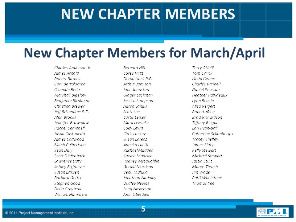 NEW CHAPTER MEMBERS New Chapter Members for March/April 5