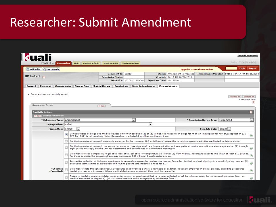 open source administration software for education Researcher: Submit Amendment