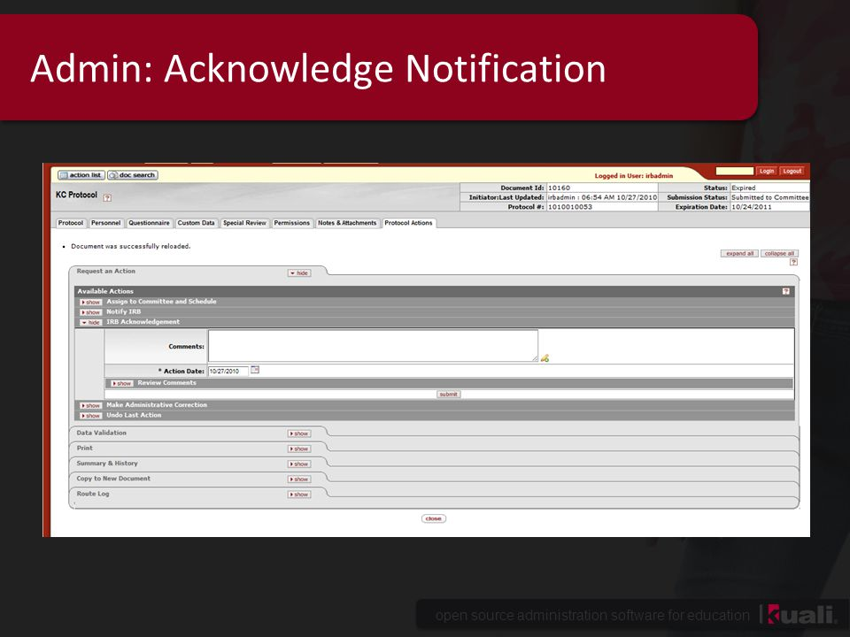 open source administration software for education Admin: Acknowledge Notification