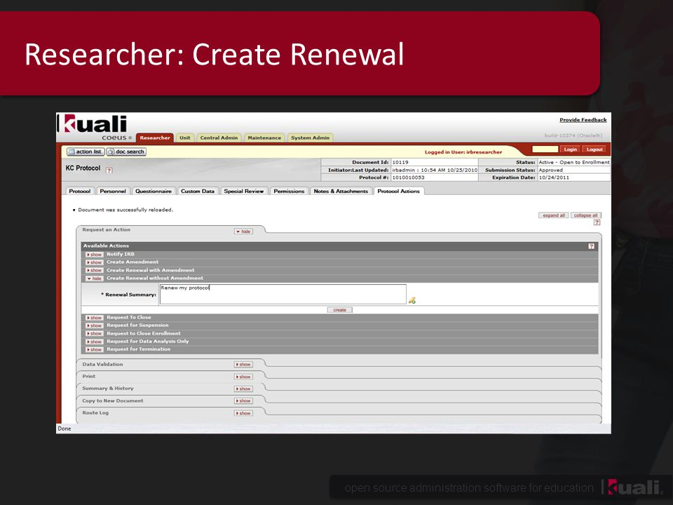 open source administration software for education Researcher: Create Renewal