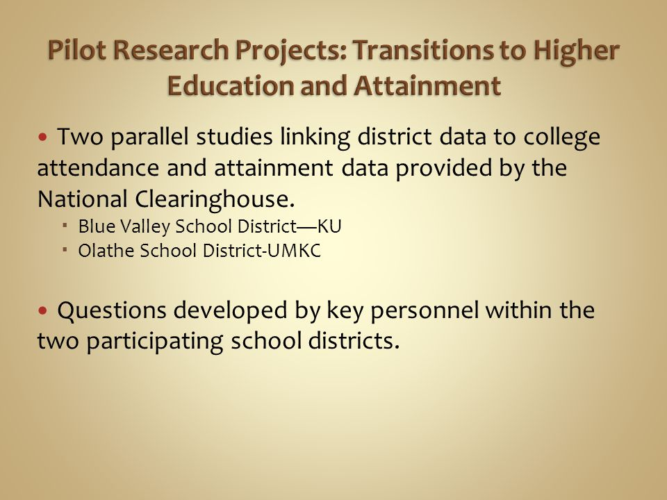 Mission Statement Our shared goal is to improve P-20 education for all students in the Kansas City metropolitan area by providing powerful tools for data-driven educational research, evaluation and implementation.