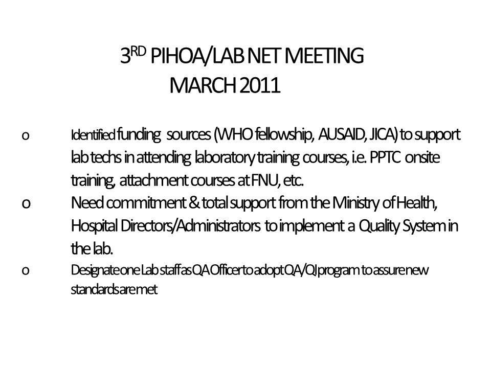3 RD PIHOA/LAB NET MEETING MARCH 2011 oIdentified funding sources (WHO fellowship, AUSAID, JICA) to support lab techs in attending laboratory training