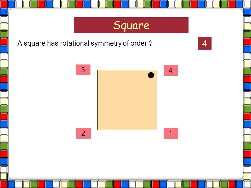 Square A square has rotational symmetry of order ?
