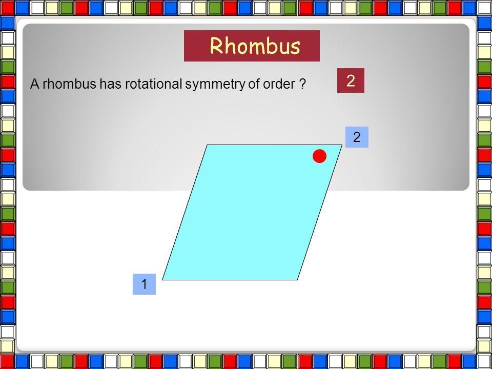 A rhombus has rotational symmetry of order ? Rhombus