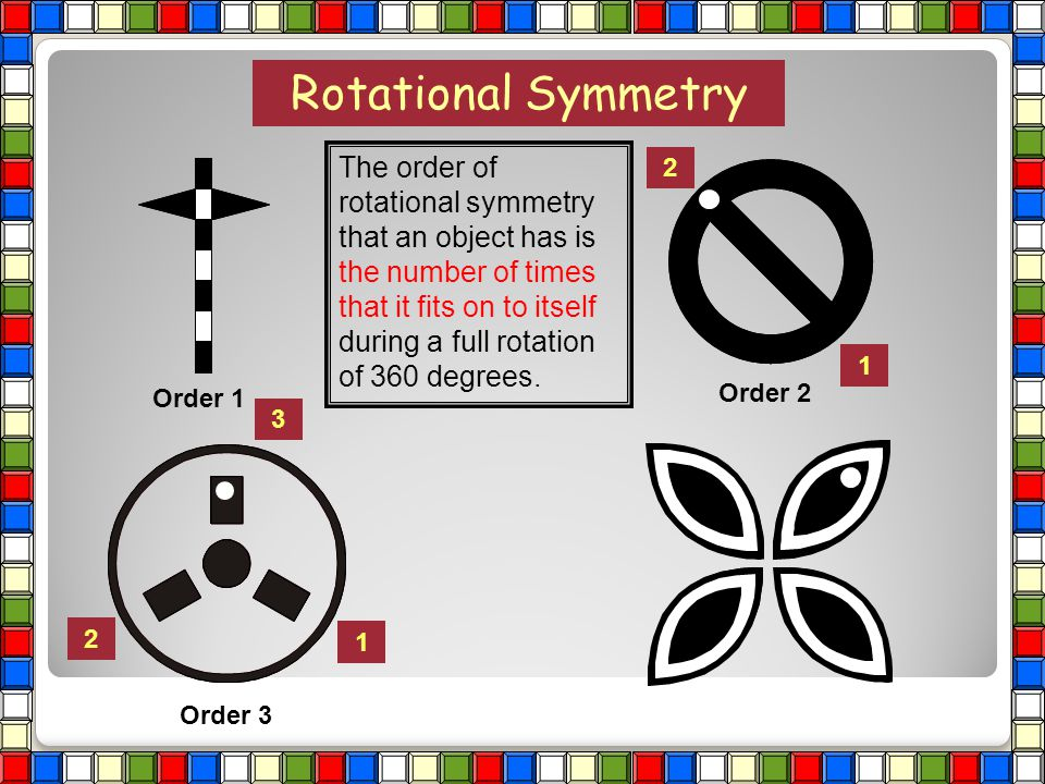 Rotational Symmetry Order 1 1 2 Order 2 The order of rotational symmetry that an object has is the number of times that it fits on to itself during a