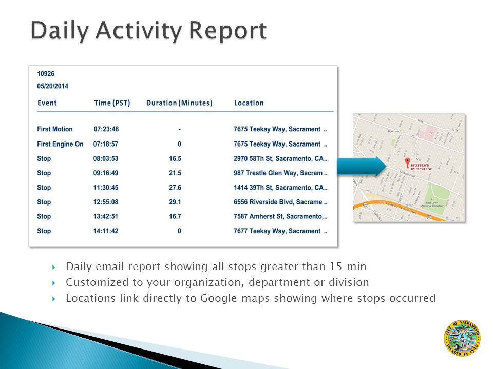  Daily email report showing all stops greater than 15 min  Customized to your organization, department or division  Locations link directly to Google maps showing where stops occurred