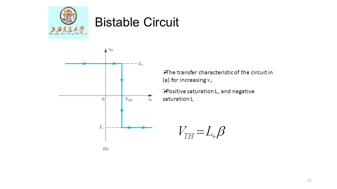 11 Bistable Circuit  The transfer characteristic of the circuit in (a) for increasing v I.  Positive saturation L + and negative saturation L -