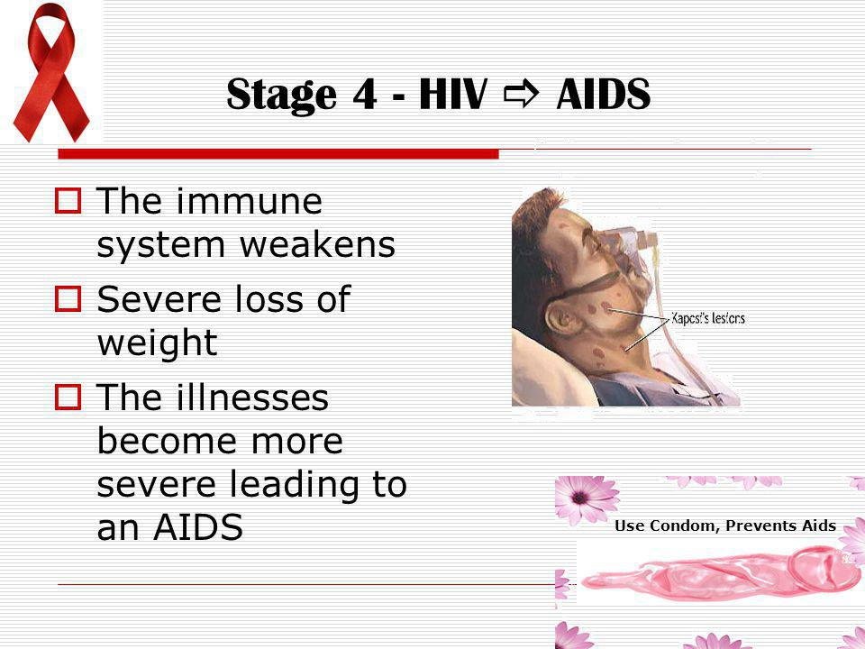 Stage 3 - Symptomatic  The symptoms are mild  The immune system deteriorates  emergence of opportunistic infections and cancers Use Condom, Prevent