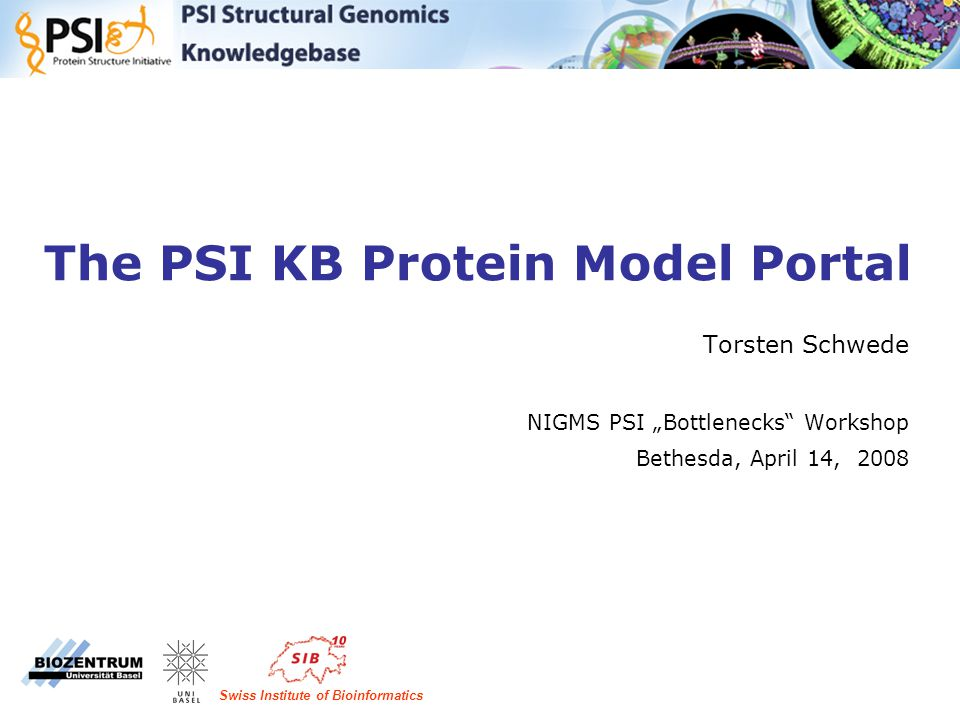"The PSI KB Protein Model Portal Torsten Schwede NIGMS PSI ""Bottlenecks Workshop Bethesda, April 14, 2008 Swiss Institute of Bioinformatics"