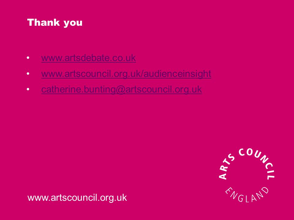 www.artscouncil.org.uk Thank you www.artsdebate.co.uk www.artscouncil.org.uk/audienceinsight catherine.bunting@artscouncil.org.uk