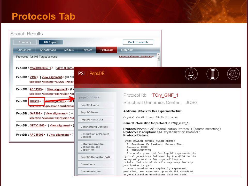 Protocols Tab