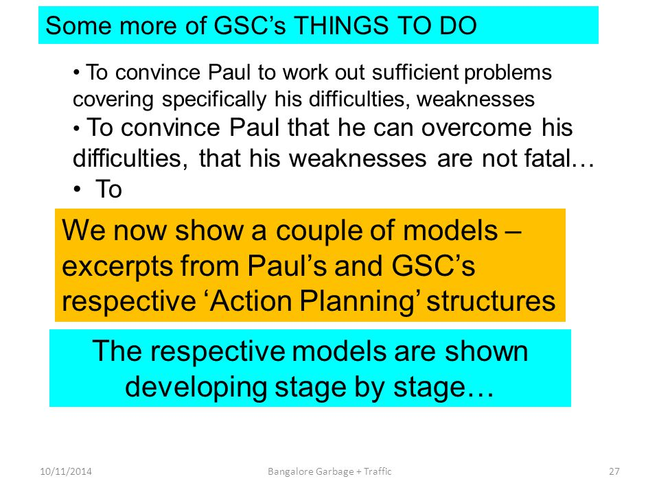 Some more of GSC's THINGS TO DO To convince Paul to work out sufficient problems covering specifically his difficulties, weaknesses To convince Paul t