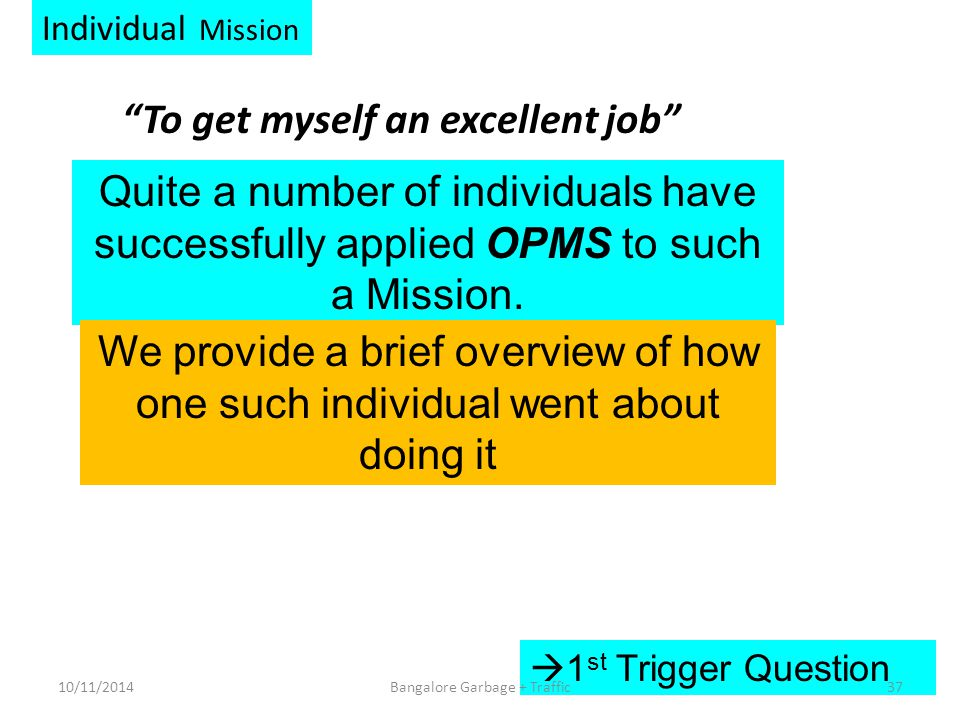 Individual Mission To get myself an excellent job  1 st Trigger Question Quite a number of individuals have successfully applied OPMS to such a Mission.