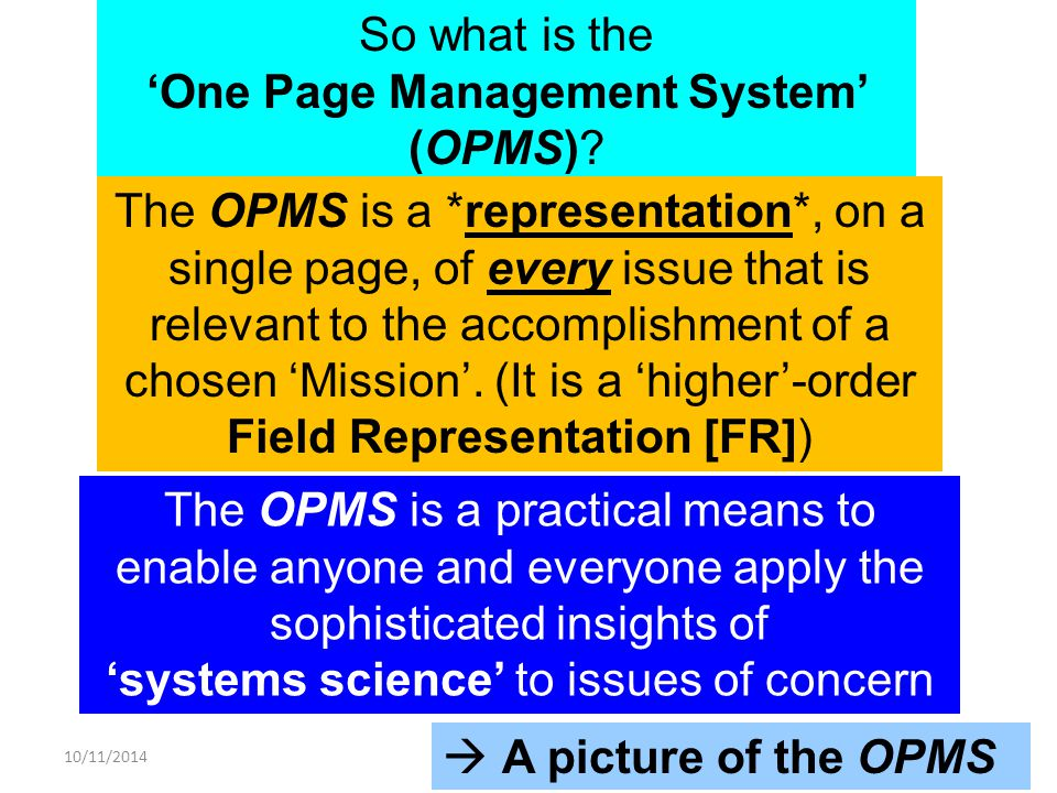 10/11/2014 The OPMS is a practical means to enable anyone and everyone apply the sophisticated insights of 'systems science' to issues of concern So what is the 'One Page Management System' (OPMS).