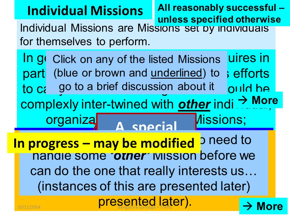 Individual Missions To understand thoroughly all topics of my math syllabus, and THEREBY to improve, very significantly, my results in my math exams, tests, quizzes To understand thoroughly all topics of my math syllabus, and THEREBY to improve, very significantly, my results in my math exams, tests, quizzes To get myself an excellent job To write a letter (useful startup exercise) To write a letter To become significantly more effective at what I do To become significantly more effective at what I do To improve my English-speaking skills To become a first-rate s/w designer within 1/3/4/5/7 … years To become a first-rate s/w designer within 1/3/4/5/7 … years In general, an individual Mission requires in particular only the individual owner's efforts to carry it forward – though often it could be complexly inter-twined with other individual, organizational or societal Missions; Missions belonging to other individuals….