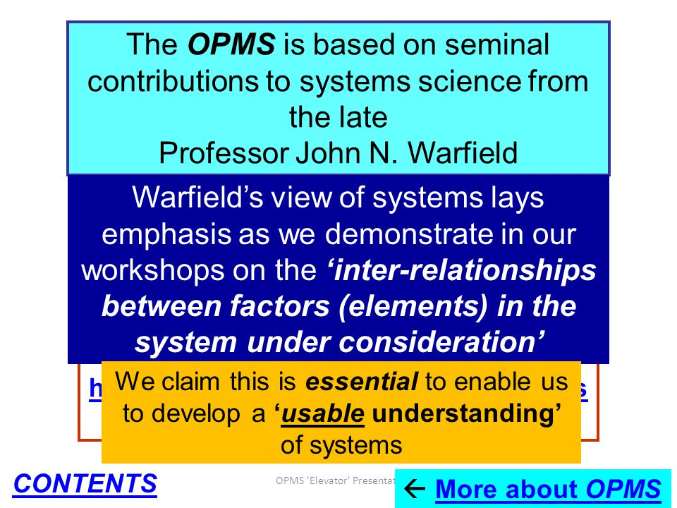 OPMS 'Elevator' Presentation 2012 87 Information about John Warfield's books, papers, etc: http://www.jnwarfield.com and see also the 'John Warfield C