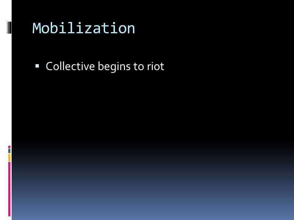 Mobilization  Collective begins to riot