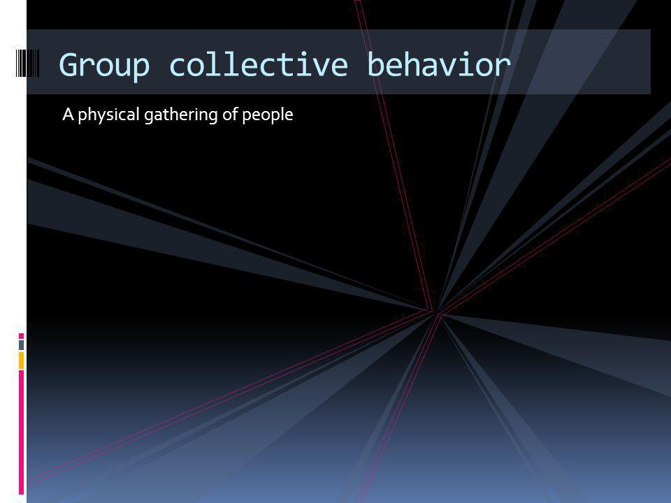 Types of group collectives All involve groups of people Crowd Mob Riot