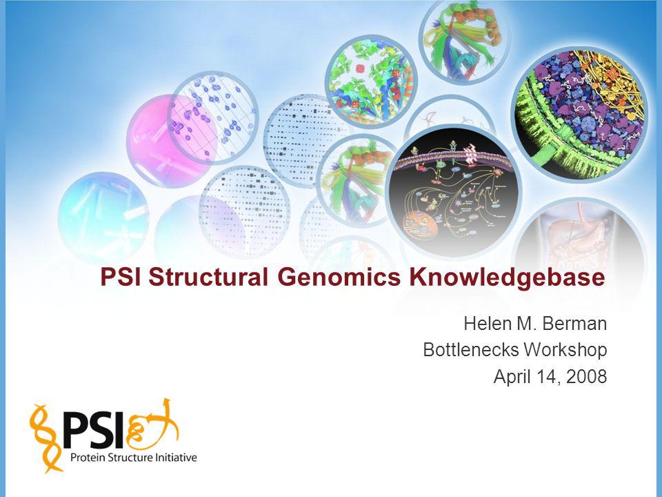 PSI Structural Genomics Knowledgebase Helen M. Berman Bottlenecks Workshop April 14, 2008