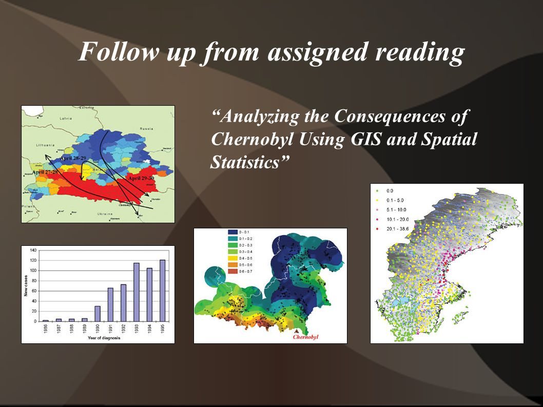 Follow up from assigned reading Analyzing the Consequences of Chernobyl Using GIS and Spatial Statistics