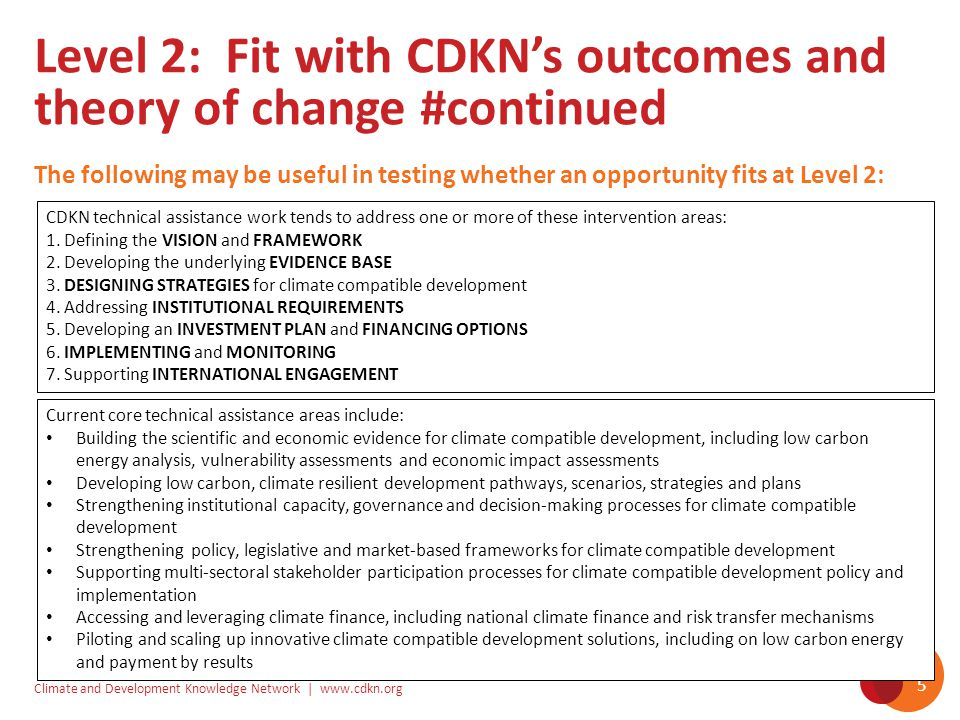 Climate and Development Knowledge Network | www.cdkn.org 5 The following may be useful in testing whether an opportunity fits at Level 2: Level 2: Fit with CDKN's outcomes and theory of change #continued CDKN technical assistance work tends to address one or more of these intervention areas: 1.
