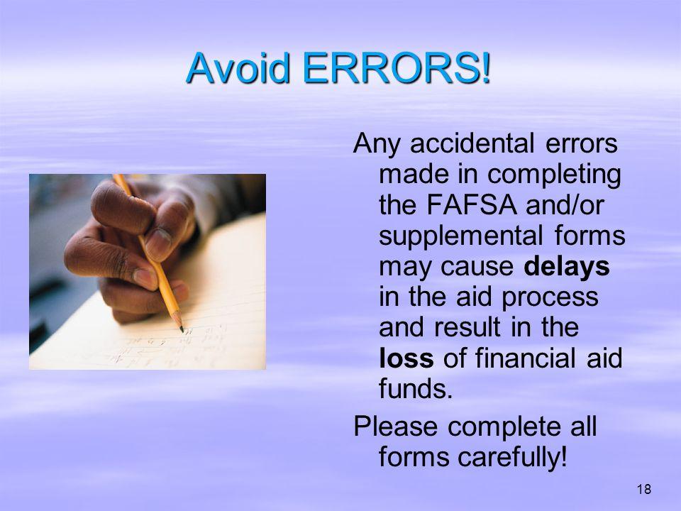 Avoid ERRORS.