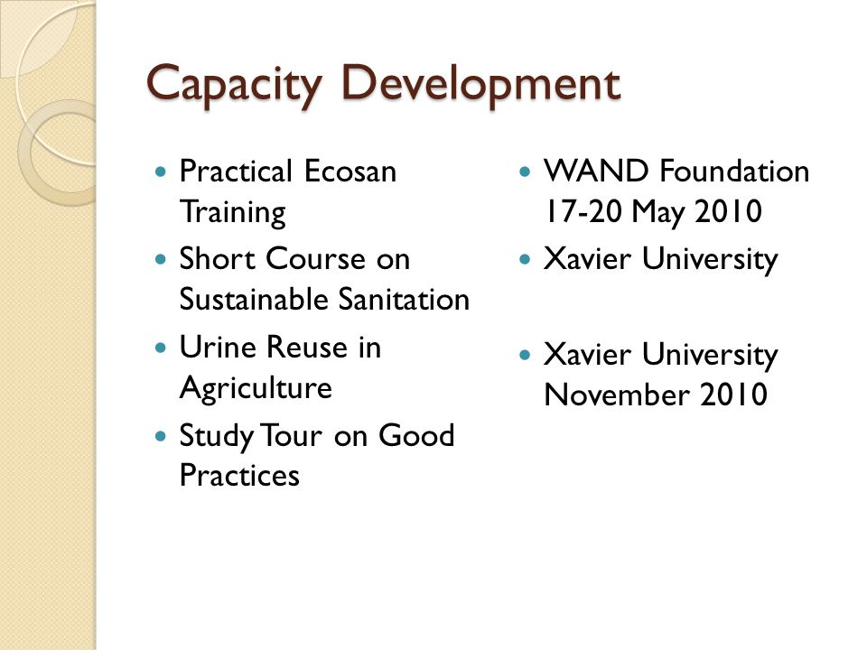 Capacity Development Practical Ecosan Training Short Course on Sustainable Sanitation Urine Reuse in Agriculture Study Tour on Good Practices WAND Fou
