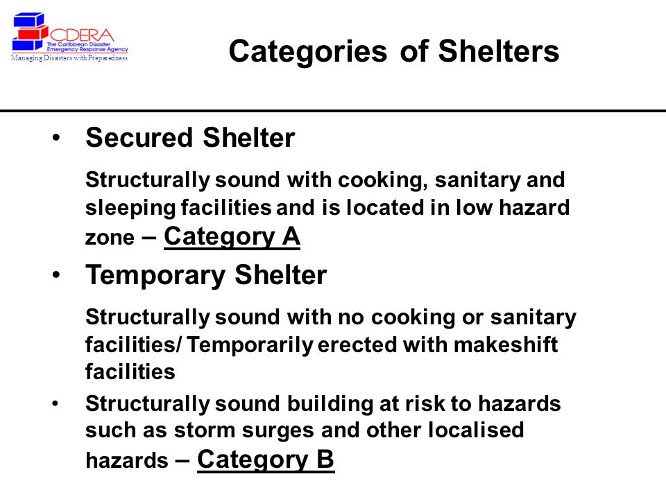 Secured Shelter Structurally sound with cooking, sanitary and sleeping facilities and is located in low hazard zone – Category A Temporary Shelter Structurally sound with no cooking or sanitary facilities/ Temporarily erected with makeshift facilities Structurally sound building at risk to hazards such as storm surges and other localised hazards – Category B Categories of Shelters Managing Disasters with Preparedness