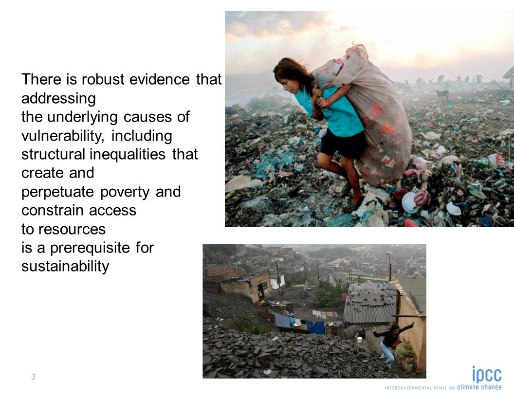 3 There is robust evidence that addressing the underlying causes of vulnerability, including structural inequalities that create and perpetuate poverty and constrain access to resources is a prerequisite for sustainability