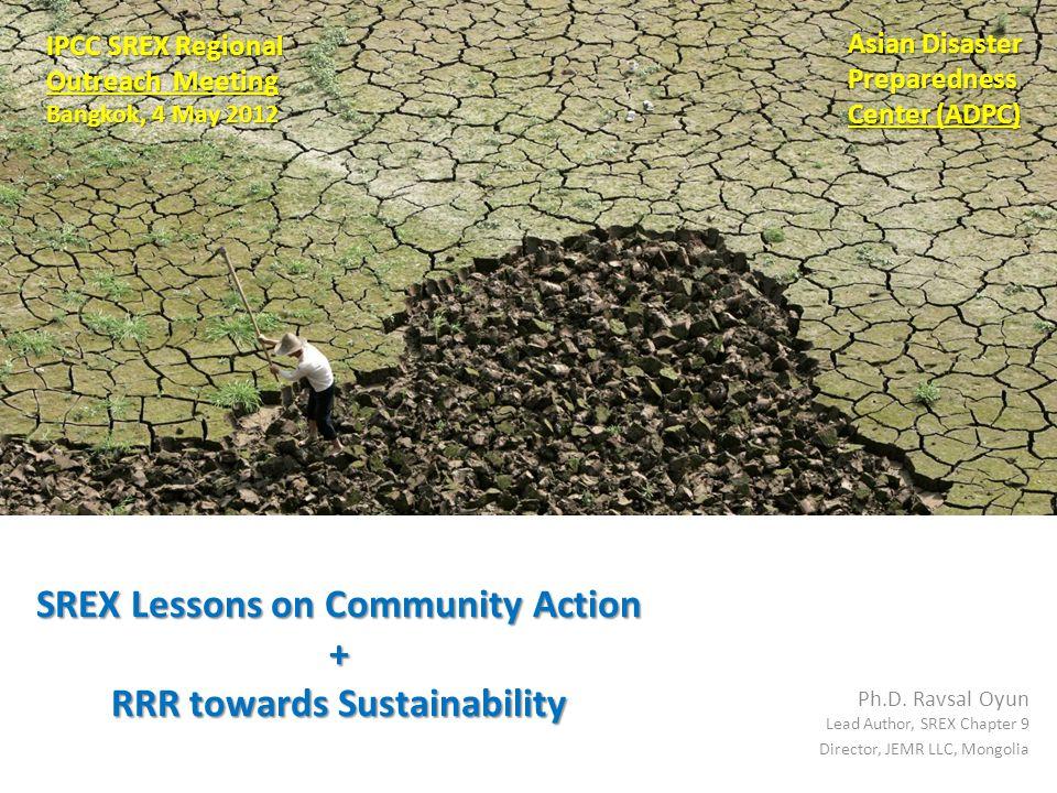 SREX Lessons on Community Action + RRR towards Sustainability Ph.D.