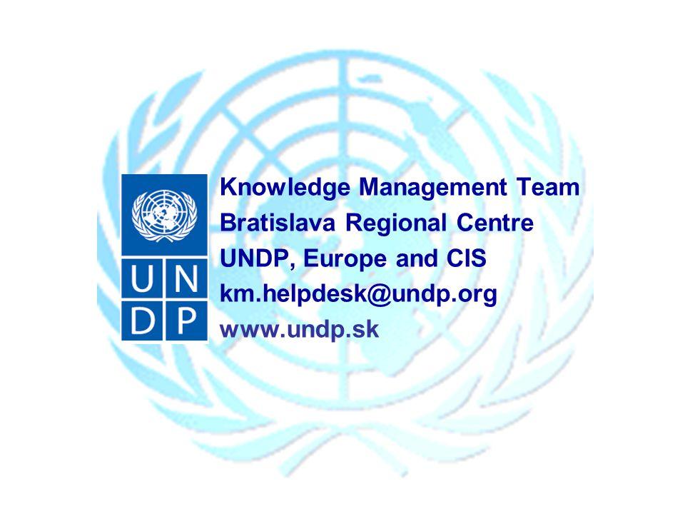 Knowledge Management Team Bratislava Regional Centre UNDP, Europe and CIS km.helpdesk@undp.org www.undp.sk