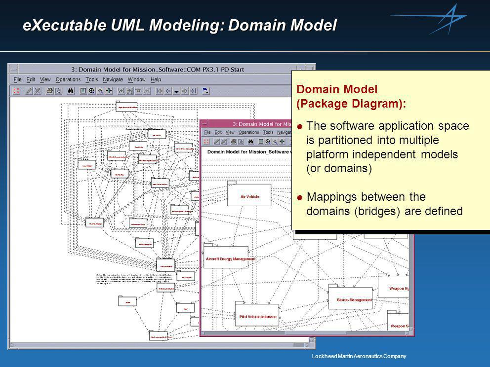 Lockheed Martin Aeronautics Company eXecutable UML Modeling: Domain Model Domain Model (Package Diagram): l The software application space is partitioned into multiple platform independent models (or domains) l Mappings between the domains (bridges) are defined Domain Model (Package Diagram): l The software application space is partitioned into multiple platform independent models (or domains) l Mappings between the domains (bridges) are defined