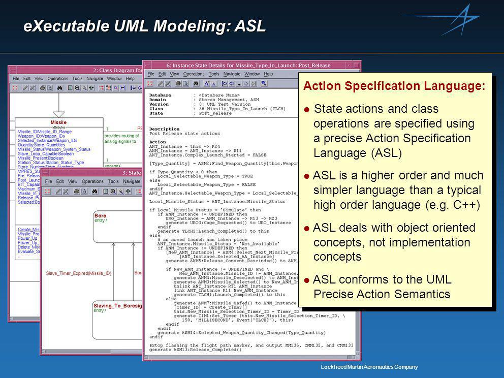 Lockheed Martin Aeronautics Company eXecutable UML Modeling: ASL Action Specification Language: l State actions and class operations are specified using a precise Action Specification Language (ASL) l ASL is a higher order and much simpler language than a typical high order language (e.g.