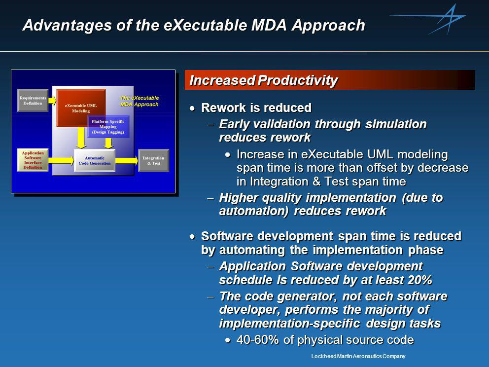 Lockheed Martin Aeronautics Company Advantages of the eXecutable MDA Approach  Rework is reduced  Early validation through simulation reduces rework  Increase in eXecutable UML modeling span time is more than offset by decrease in Integration & Test span time  Higher quality implementation (due to automation) reduces rework  Software development span time is reduced by automating the implementation phase  Application Software development schedule is reduced by at least 20%  The code generator, not each software developer, performs the majority of implementation-specific design tasks  40-60% of physical source code Increased Productivity