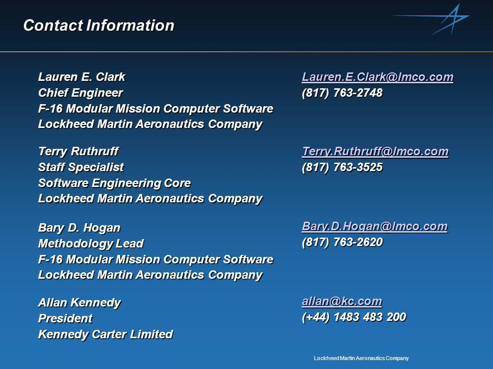 Lockheed Martin Aeronautics Company Contact Information Lauren E.