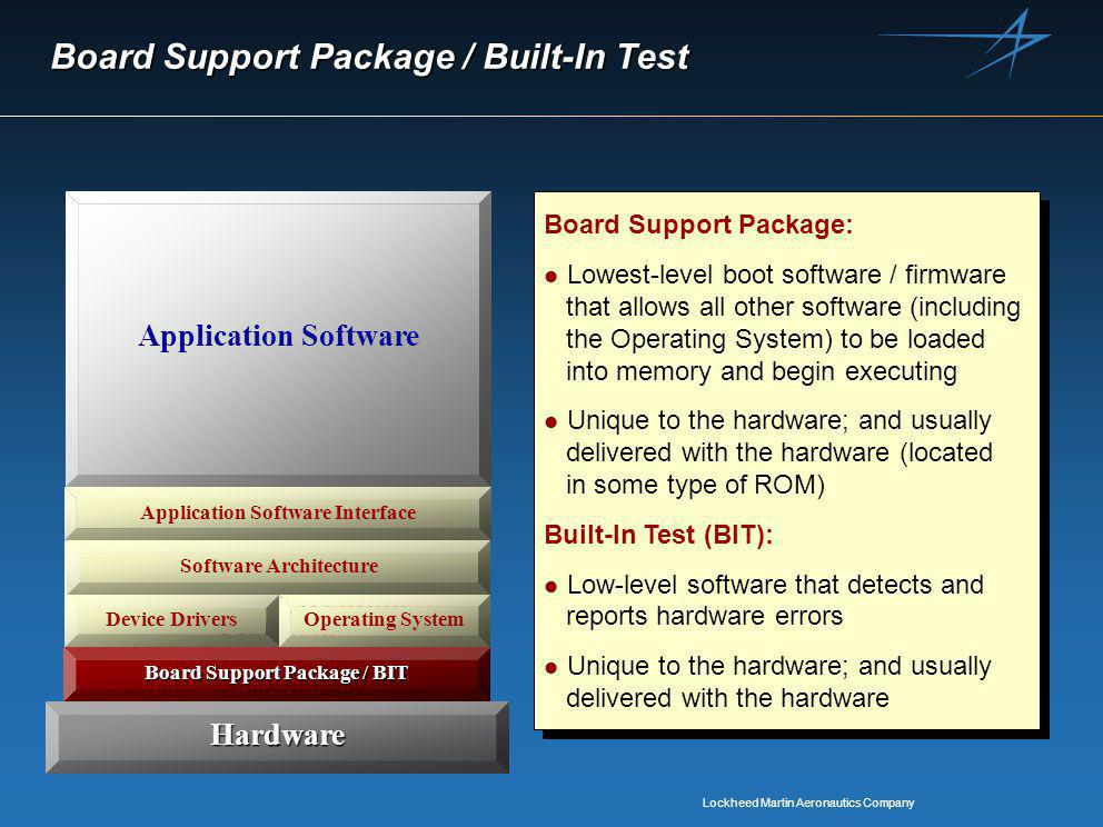 Lockheed Martin Aeronautics Company Software Execution Platform Board Support Package / BIT Board Support Package / Built-In Test Hardware Application Software Application Software Interface Device DriversOperating System Software Architecture Board Support Package: l Lowest-level boot software / firmware that allows all other software (including the Operating System) to be loaded into memory and begin executing l Unique to the hardware; and usually delivered with the hardware (located in some type of ROM) Built-In Test (BIT): l Low-level software that detects and reports hardware errors l Unique to the hardware; and usually delivered with the hardware Board Support Package: l Lowest-level boot software / firmware that allows all other software (including the Operating System) to be loaded into memory and begin executing l Unique to the hardware; and usually delivered with the hardware (located in some type of ROM) Built-In Test (BIT): l Low-level software that detects and reports hardware errors l Unique to the hardware; and usually delivered with the hardware Board Support Package / BIT