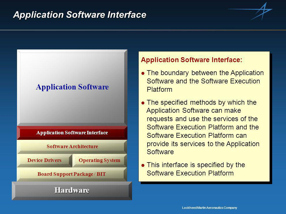 Lockheed Martin Aeronautics Company Application Software Interface Software Execution Platform Device DriversOperating System Software Architecture Application Software Interface Hardware Application Software Application Software Interface: l The boundary between the Application Software and the Software Execution Platform l The specified methods by which the Application Software can make requests and use the services of the Software Execution Platform and the Software Execution Platform can provide its services to the Application Software l This interface is specified by the Software Execution Platform Application Software Interface: l The boundary between the Application Software and the Software Execution Platform l The specified methods by which the Application Software can make requests and use the services of the Software Execution Platform and the Software Execution Platform can provide its services to the Application Software l This interface is specified by the Software Execution Platform Board Support Package / BIT