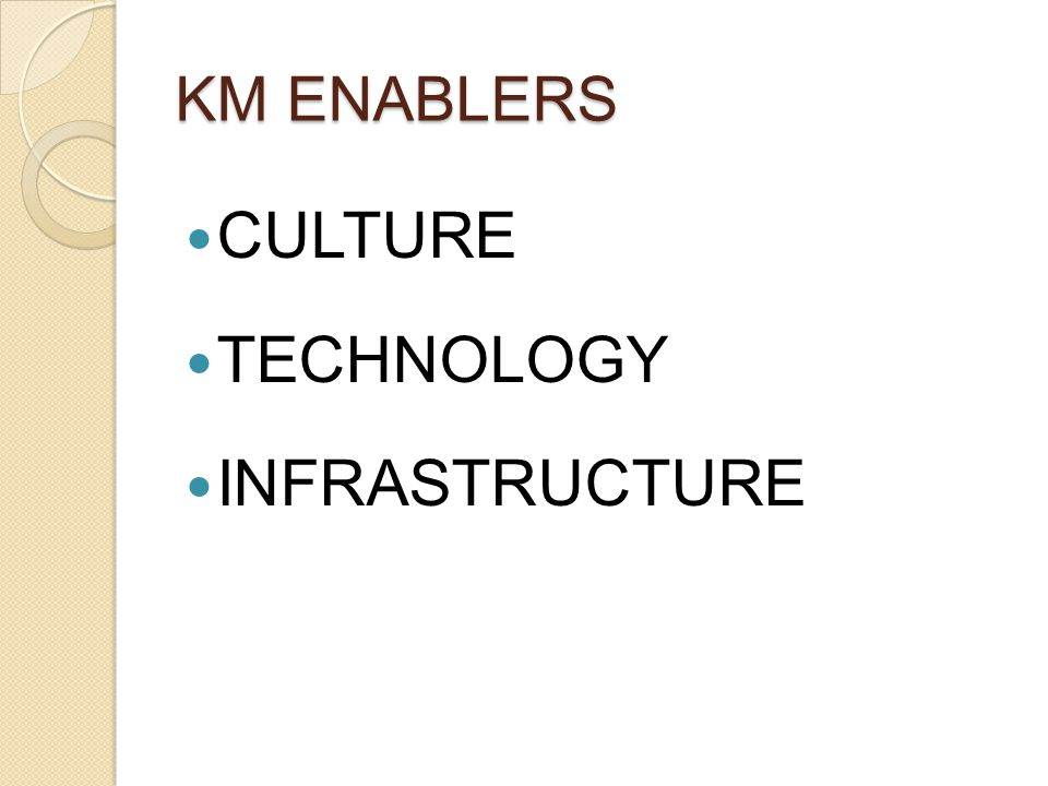KM ENABLERS CULTURE TECHNOLOGY INFRASTRUCTURE