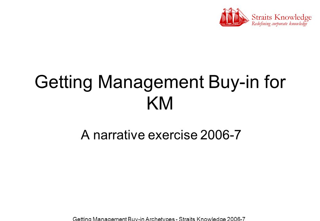Getting Management Buy-in Archetypes - Straits Knowledge 2006-7 Agenda Introduce the project so far, the process used and the archetypes Activity: index the archetypes for motivators and values Briefing: A Model for Change Communications Activity: Communication strategies for key archetypes
